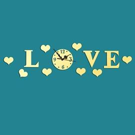 Creative Love Design Mirror Acrylic Sticker Wall Clock