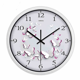 Simple White Butterfly Pattern Wall Clock