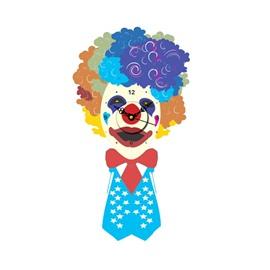 Creative Colorful Clown Shape Needle and Digital Sticker Wall Clock