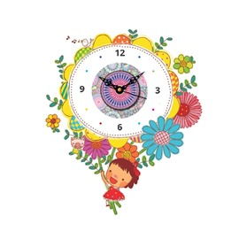Cartoon Girl and Flower Pattern Needle and Digital Sticker Wall Clock