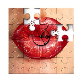 Sexy Red lip in Puzzle Needle and Digital Sticker Wall Clock