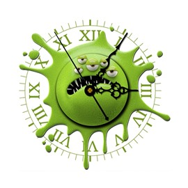 Green Monster Shape Needle and Digital Sticker Wall Clock