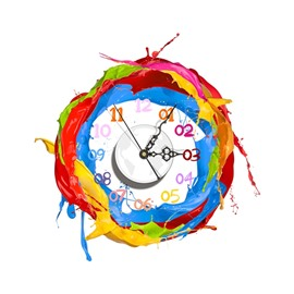 Colorful Paint Pattern Needle and Digital Sticker Wall Clock
