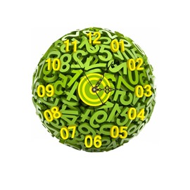Green Arabic Numerals Pattern Needle and Digital Sticker Wall Clock