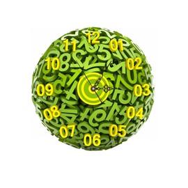 Green Arabic Numerals Pattern Needle and Digital Sticker Wall Clock