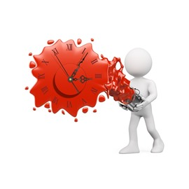 Red Pouring Paint Pattern Needle and Digital Sticker Wall Clock