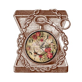 Elegant Jewelry Box Pattern Needle and Digital Sticker Wall Clock