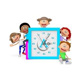 Amazing Family Members Pattern Needle and Digital Sticker Wall Clock
