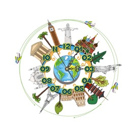 Famous World Structure Pattern Needle and Digital Sticker Wall Clock