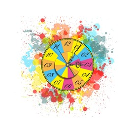 Delicate Colorful Painting Pattern Needle and Digital Sticker Wall Clock