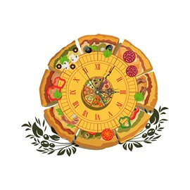 Delicious Pizza Pattern Needle and Digital Sticker Wall Clock