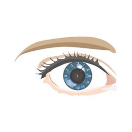 Gorgeous Eyes Shape Needle and Digital Sticker Wall Clock