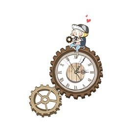 Amusing Wheel Gear Shape Needle and Digital Sticker Wall Clock