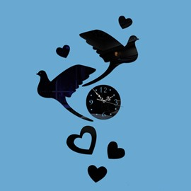 Gorgeous Acrylic Two Birds and Heart Pattern Round Wall Clock