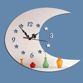 Decorative Acrylic Moon Shaped Digital Battery Wall Clock