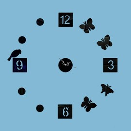 Round Acrylic Birds and Butterflies Pattern Digital Battery Decorative Wall Clock