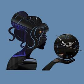 Elegant and Stunning Acrylic Beautiful Girl Pattern Digital Decorative Wall Clock