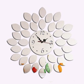 Decorative Acrylic 3D DIY Leaves Design Room Silent Frameless Wall Clock