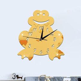 Amusing Acrylic 3D DIY Smile Frog Design Room Silent Battery Wall Clock