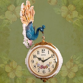 Classic Unique Peacock Design Digital and Hand Indicators Mute Wall Clock