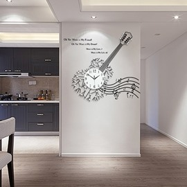 Guitar and Music Notes Home Decorative Wall Clock