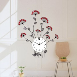 Simple and Country Style Iron Red Flowers with Artificial Diamonds Decoration Wall Clock