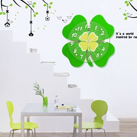 Cute Green Clover Shape 13 Inches Home Decorative Wall Clock