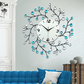 White and Blue Branch with Artificial Diamonds Decoration Iron 9.4 Inches Diameter Wall Clock