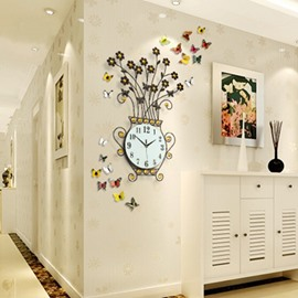 Handmade Iron 9.4 Inches Diameter Beautiful Flower Shape Mute Wall Clock