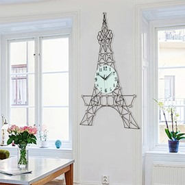 Eiffel Tower Shape Simple Style Battery Wall Clock