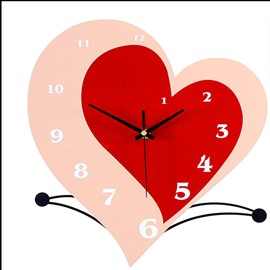 Romantic and Elegant Style Red Iron Simple Style Heart Shaped Home Decorative Mute MDF Wall Clock