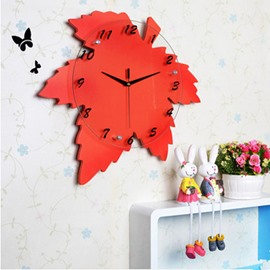 Modern and Creative Maple Leaf Shape Mute Red MDF Home Decorative Wall Clock