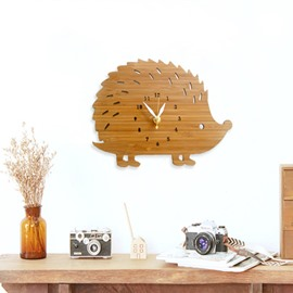 Hedgehog Bamboo Mute Khaki Hanging Wall Clock