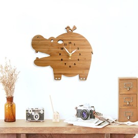 Simple and Modern Handmade Wooden Cute Hippo Shape Mute Battery Decorative Wall Clock