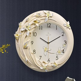 Fabulous Three-dimensional Handmade Resin Flower Embossment Mute Battery Wall Clock
