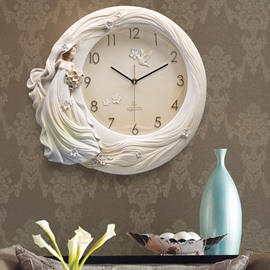 Princess Tridimentional Handmade Embossment Mute Hanging Wall Clock
