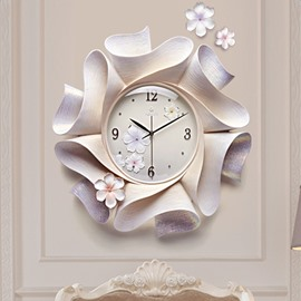 Splendid Resin Three-dimensional Handmade Embossment Flower Mute Wall Clock