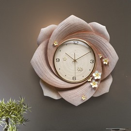 Gorgeous Resign Handmade Three-dimensional Embossment Flower Mute Battery Wall Clock