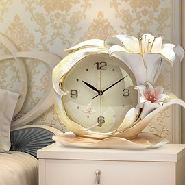 Elegant and Delicay Lily Embossment Mute Wall Clock/Alarm Clock