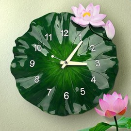 Natural Design Green ALotus Leaf Shape Resin Battery Wall Clock