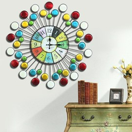 Colorful Circles Innovative Style Round Iron Battery Durable 1 Piece Wall Clock