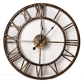 18in Golden Round Classic Retro Style Battery Hanging Wall Clock
