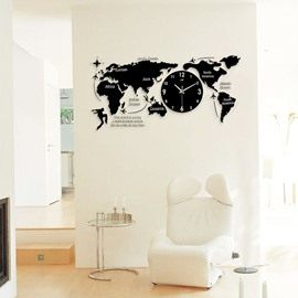Black World Map Pattern Acrylic Battery Hanging Wall Clock