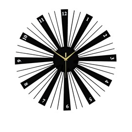 22×22in Black Round Dial Iron and Board Durable and Eco-friendly Hanging Wall Clock