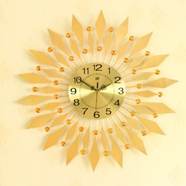 Golden Diamonds and Dial Iron Battery Mute Hanging Wall Clock