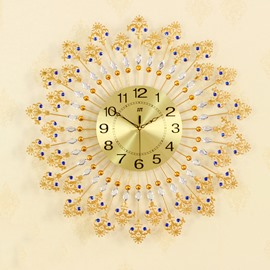 26-26in Golden Floral Edges Round Iron and Diamond Battery Hanging Wall Clock