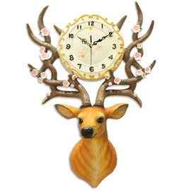 24×17in Deer Head Resin Eco-friendly and Durable Battery Hanging Wall Clock