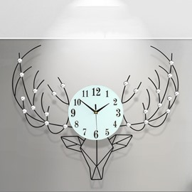 Deer Head Pattern Simple Style Iron and Diamond Battery Hanging Wall Clock
