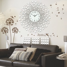28×28in White Circles European Style Iron and Diamond Battery Hanging Wall Clock
