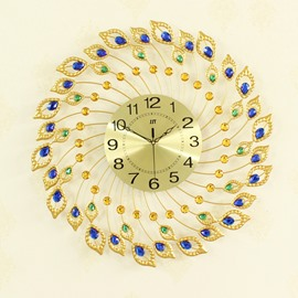 Golden Dial Decorated by Peacock Feathers Iron Battery Hanging Wall Clock